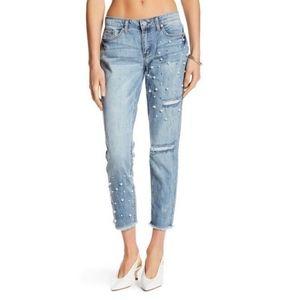 Ashley Mason Embellished Frayed Crop Jeans